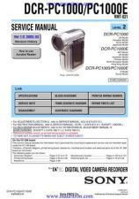 Buy Sony DCR-PC1000-PC1000E-2 Service Manual by download Mauritron #315817