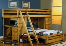 Buy Multifunctional Twin Bunk Bed Computer Desk Chest Drawers Shelves Book Case Ladd