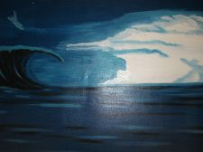 Buy Wave Surf Print Painting on canvas unframed. original.sale ends 9th march. decor