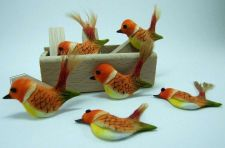 Buy CUTE ORANGE BIRDS ARTIFICIAL MINI TINY CRAFT DIY DECORATIVE FLORAL DOLLHOUSE NEW