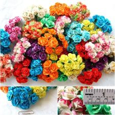 Buy 100 MIX ARTIFICIAL MULBERRY PAPER ROSE FLOWER WEDDING SCRAPBOOK DAI 2.5CM MP001