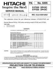 Buy Hitachi 51F520 DP43C Service Manual by download Mauritron #288232