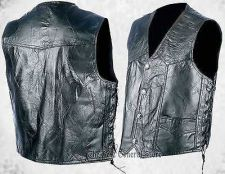 Buy Mens Black Hog Leather Biker Vest with Laces Motorcycle Pockets MC Western Yoke