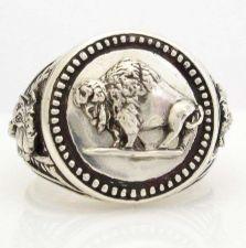 Buy Buffalo Nickel Mens Coin ring sterling silver 925