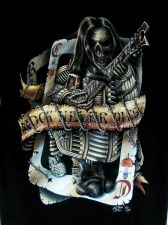 Buy Skull Bone Rock Music Star Never Dies Guitar Tattoo Wire Card T Shirt Black L