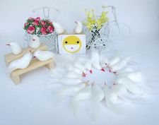 Buy 12 WHITE ARTIFICIAL BIRDS ORNAMENTS FOAM FLORAL CRAFTS DECORATIVE WEDDING FAKE