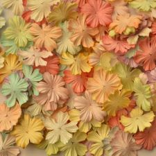 "Buy 100 MIXED MULBERRY PAPER ARTIFICIAL PETAL FLOWERS SOFT TONE COLOR DIA 2.5 cm/ 1"""