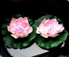Buy 2 pcs Pink Artificial Lotus Flower water lilly Flooding Pool Tank Decor
