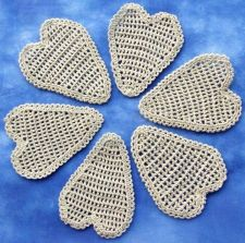 Buy 6 Crochet Brown Heart Handmade Appliques Artificial Sewing Craft Wedding Vintage