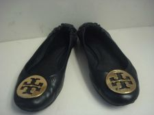 Buy TORY BURCH REVA BALLET SHOES 7M BLACK GOLD METAL LOGO 7 M LEATHER UPPER