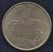 Buy 1963 Norway 1 Krone Copper Nickel World Coin KM409 Horse Animal Olav V Norge