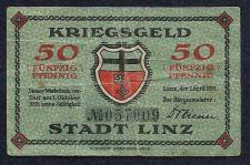 Buy Germany Kriegsgeld 50 Funfzig 1919 Stadt Linz No 057009 Notgeld