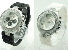 Buy 2 pcs Geneva Silicone Crystal Quartz Wrist Watch