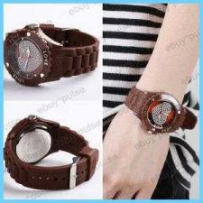 Buy New Rubber Candy Crystal Love Jelly Wrist Watch BROWN #218 free shipping