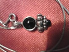 """Buy Necklace with """"Classy"""" Black & Silver Tone Pendant"""
