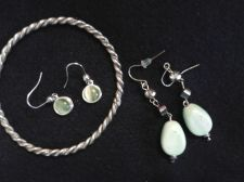 Buy Two sets of Beautiful Emerald Green and Gold Ear Rings and Rope Bracelet