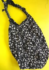 Buy Thai handmade hobo woman cross shoulder bag flower design printed cotton black
