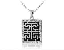 Buy 18K RGP white square design necklace