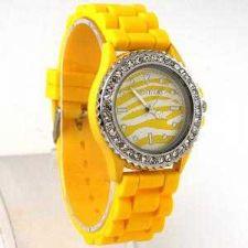 Buy NEW Fashion Zebra Pattern Crystal Silicone Unisex Wrist Watch #308 Free shipp