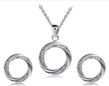 Buy 925 sliver plated crystal jewelry set circle necklace with earrings