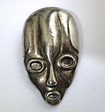 Buy Vintage Antique Silver Plated Repousse Woman Rare Alien Style Collectible Brooch