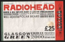 Buy RADIOHEAD CONCERT TICKET INNER BARRIER PASS GLASGOW GREEN 2000 USED RARE