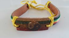 Buy HANDMADE HANDICRAFT YIN YING YANG CHARM CHARM COLOURFUL LEATHER BRACELET