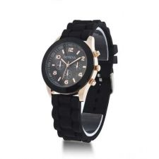 Buy Silicone Crystal Jelly black Watch #511 Free shipping