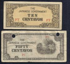 Buy Japan WWII Invasion Money Two( 2) Small Notes 10 Centavo PT& 50 Centavos PI