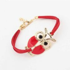 Buy Owl red leather rope bracelet
