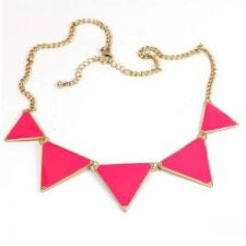 Buy Alloy pink triangle necklace