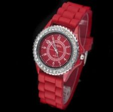 Buy New Geneva Crystal Jelly Gel Silicon Watch #517 free shipping