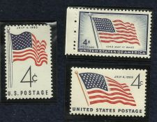 Buy US Stamps American Flag Theme 1957 to 1960 Lot of 3 Mint Stamps in Quality Mount