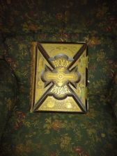 Buy 1885 HOLY BIBLE WITH GOLDEN ETCHING & METAL LOCKS*USED BUT NICE PIECE OF HISTORY