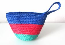 Buy Natural Weave Clutch Mini Coin Purse Wallet with strap Colorful stripped pattern