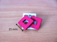 Buy 25 mm. Women fashion pink Wooden square shape fashion stud earring Accessories