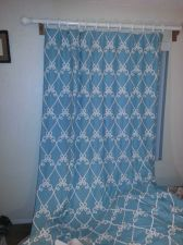 Buy 2 PANELS TIFFANY BLUE / WHITE CURTAINS WITH ROD, RINGS, ALL HARDWARE