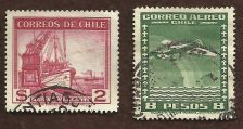 Buy CHILE STAMPS - AIR MAIL 2 PESO ARICA CANCEL- Marina Mercante Two Used Stamps