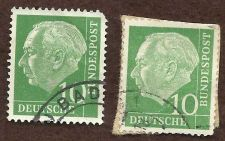 Buy West Germany Deutsche Bundespost FDR 1954 - 57 - Theodor Heuss set of 2 stamps