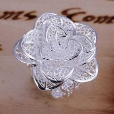 Buy Flower adjustable 925 silver plated ring