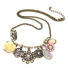 Buy Flower vintage rhinestone pearl necklace