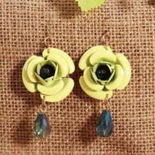 Buy Flower beads earring yellow