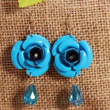 Buy Flower beads earring blue