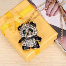 Buy Crystal panda sweater necklace