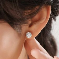 Buy 1 Pair Of White Crystal Ball Earrings