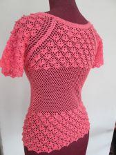 "Buy Crochet Dress Top Blouse Handmade Doilies Knit Pink Girl chest S. 28"" Free ship"