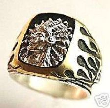 Buy Comanche Chief Mens Flame Signet ring Sterling Silver