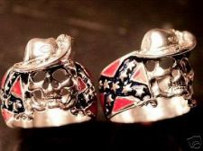 Buy CSA Enamel Flag Mens Skull ring Sterling Silver Lge.