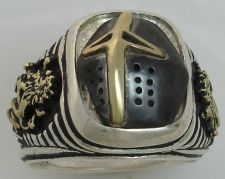 Buy Prince Valiant Black Knight 10 Karat Gold Lions Sterling Silver signet ring