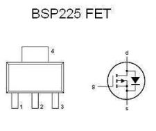 Buy SMT FET - BSP225 P-Channel, Logic Amplifier (SOT-223) - 12 Pieces